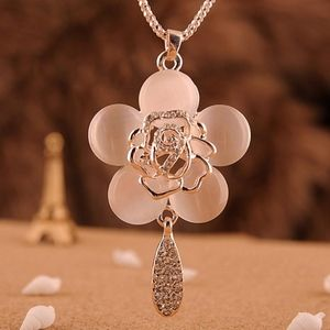 PREVIEW Rose Opal Flower Pendant Necklace